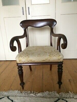 Antique Victorian Edwardian Dark Wood Carver Large wooden armchair