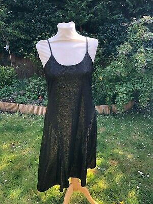 Vintage 90's Black & Gold Bias Cut Slip Dress St Michael M&s Approx Uk 12