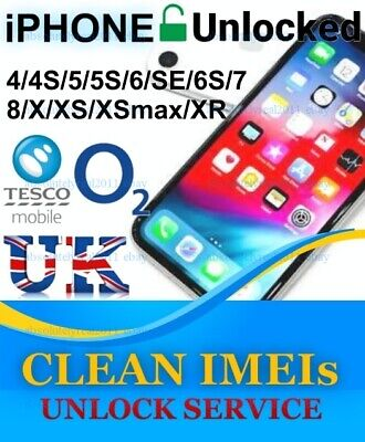 Unlock Service O2 Tesco Giffgaf UK iPhone 4s 5 5s 6 SE 6s + 7 Plus 8 X CLEAN 99%