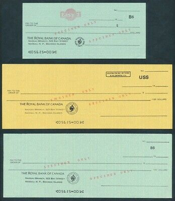 """Bahamas: 1980s Royal Bank of Canada SCARCE SET OF 3 """"SPECIMEN"""" CHEQUES"""