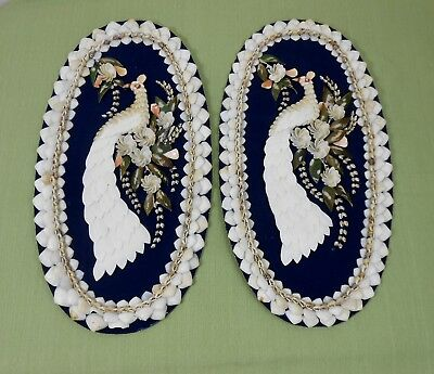 Two Matching Vintage Handmade Oval Seashell Wall Art Peacock Pictures