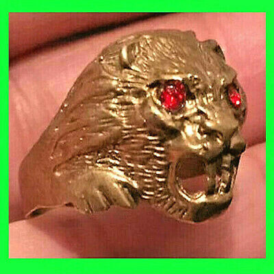 rare ancient viking Style bronze ring solid LION HEAD SYMBOL VERY Stunning