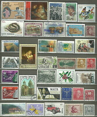 Worldwide 35 Different Used Stamps Lot Collection (218)