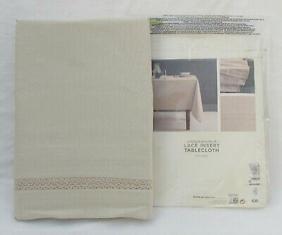 Marks And Spencer Natural With Lace Insert Large Tablecloth With Linen