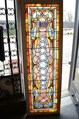 "Victorian Stained Glass & Jeweled Transom Window With Beveled Glass 24 1/2"" x 76"