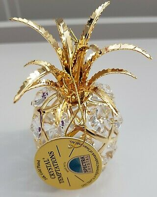 Gold Plated With Swarovski Crystals Pineapple Boxed Gifts By Crystal Temptations