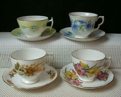 Vint Lot of 4 BONE CHINA TEA CUPS & SAUCERS by QUEEN ANNE PHOENIX ROYAL VALE