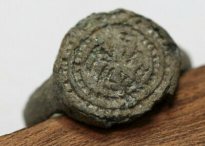 Viking tin rune sign finger ring GREAT CONDITION