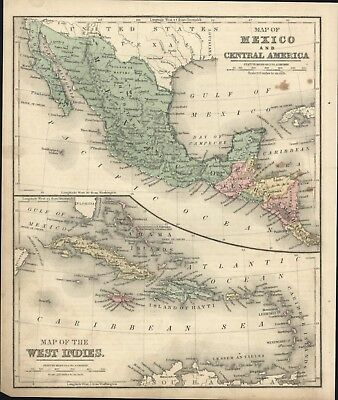 Antique Map Of (1) Mexico & Central America With Map Of (2)The West Indies- 1869