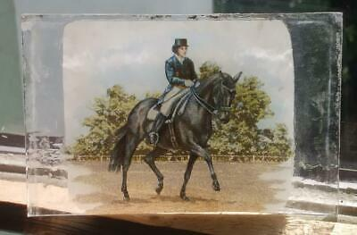 Stained Glass Black Horse & Rider -  Kiln fired fragment vintage pane!