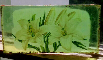 Stained Glass Flower - Lillies -  Kiln fired green fragment vintage pane!