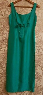 1960s evening dress emerald green 12-14 silk