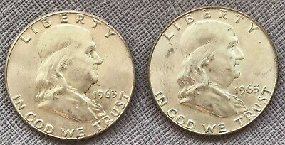 Two Ben Franklin Liberty Silver Half Dollars 1963 & 1963D  Two US 50c Coins