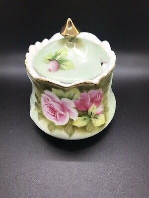 Lefton China Hand Painted Green Heritage Rose Jelly Jam Jar with Lid sugar