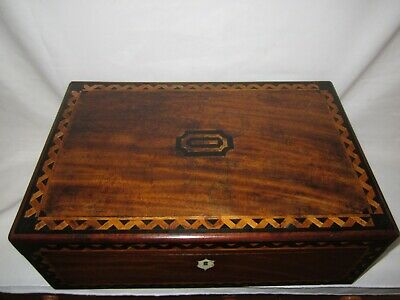 Antique Victorian inlaid wood writing slope with drawers, brass lock key etc