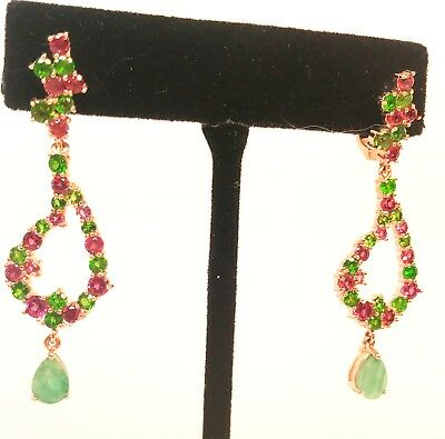 Natural 5 Ct Emerald Diopside Garnet Chandelier Rose Gold 925 Sterling Earrings