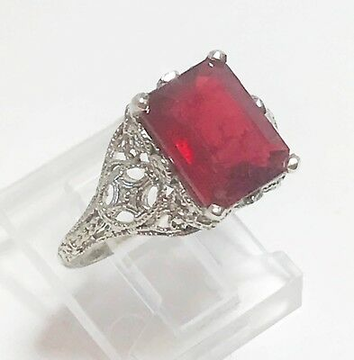 Art Nouveau Deco Style Natural Ruby 4 ct 14k White Gold Filigree Ring Size 6.5