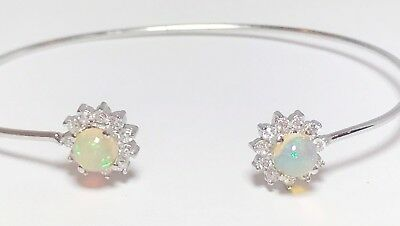 Classic Natural Fire Opal 1 ct 925 Sterling Silver Halo Flower Bangle Bracelet