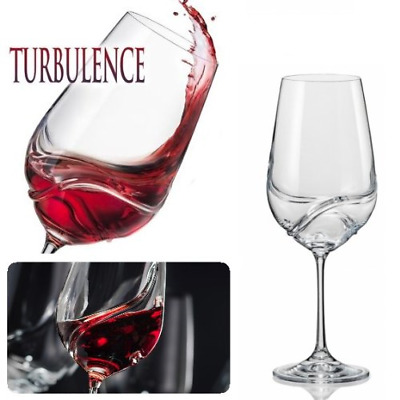Bar Amigos Pack of 2 TURBULENCE Deluxe Bohemian Crystal Wine Glasses Decanting /