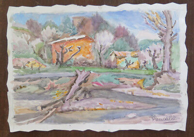 Painting Vintage Signed Watercolour on paper Landscape Countryside Modena P31