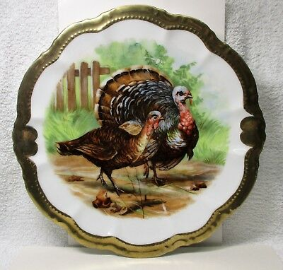 Vintage Tom Turkey Hen Platter Chop Plate Hallmarked DM BAVARIA Germany 121/2""