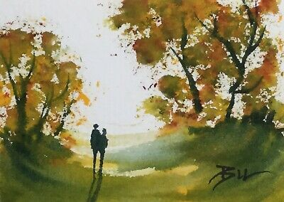 ACEO ATC original art miniature painting ' Autumn Leaves ' by Bill Lupton