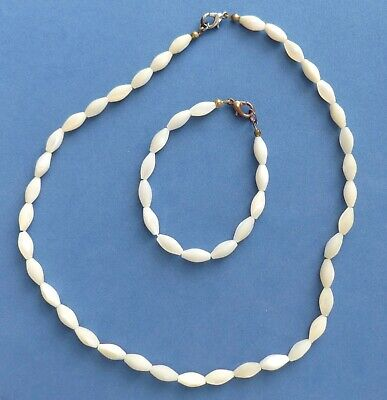 2-Piece Set Vintage Mother Of Pearl Mop Bead Necklace & Bracelet