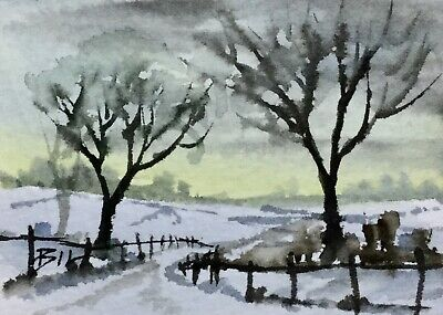 ACEO ATC original art miniature painting ' Fields of Snow ' by Bill Lupton