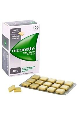 2x Nicorette Chewing Gum 4mg Original 105 Pieces TOTAL 210 PIECES DATED 03/2019