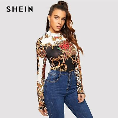 9e4d4dae531d0a SHEIN Mock Neck Stand Collar Chain Print Multicolor Slim Fit Tee 2019 Spring  Cas