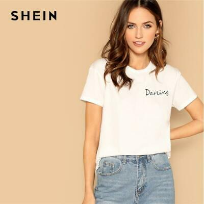 8d572b64051f0f SHEIN Going Out Highstreet White Letter Print Elegant Tee 2019 Summer Women  Mini