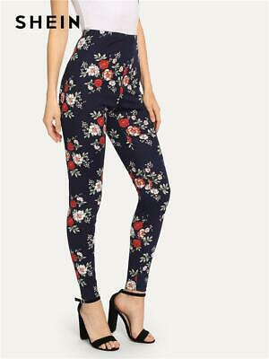 645219e16f SHEIN Navy Highstreet Elegant Flower Print Skinny Leggings 2018 Autumn  Casual Wo
