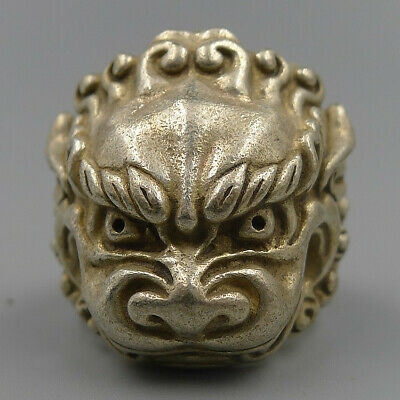 Fingerstall Thumb Ring Finger Natural Antique Silver Hand Carved Kylin Sculpture