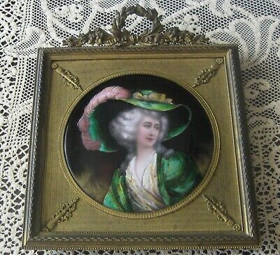 Antique French Hand painted Enamel on Copper Lady Portrait Plaque signed Borval