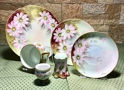 Antique Hand Painted IS Smith 6 Pc Set Cup Saucer Plates Shaker Bowl