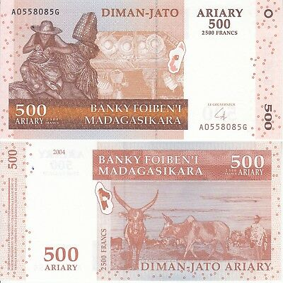 Madagascar 500 Ariary 2500 Francs 2004 Fds Unc