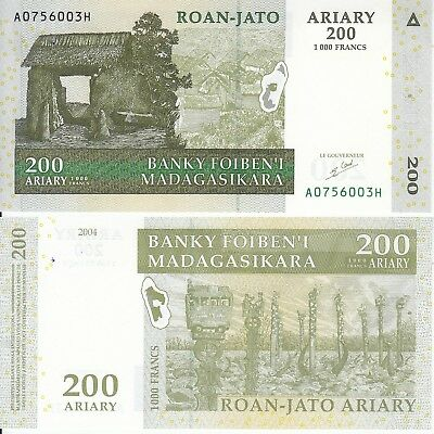 Madagascar 200 Ariary 1000 Francs 2004 Fds Unc