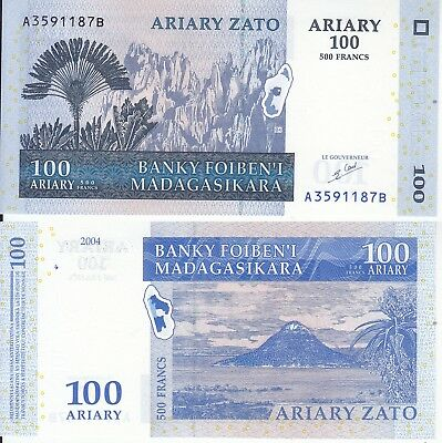 Madagascar 100 Ariary 500 Francs 2004 Fds Unc