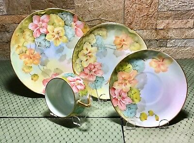 Antique Hand Painted 4 Pc Set Artist IS Smith Germany