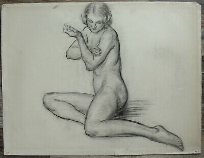 Listed Canadian Stanley Gordon Moyer (1887-1968) Drawing - Nude Female No.2