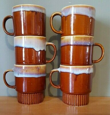 6 Vintage Drip Glaze Coffee Mugs Stackable 1970's