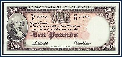 gEF 1960 10 Pound Paper Banknote Coombs/Wilson WA/54-757751  R-63  Reserve Bank