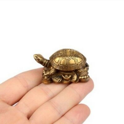 A Pair Brass Turtle Chinese Fengshui Small Animal Ornament Statue Wealth Fortune