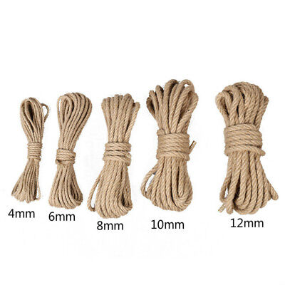 10M Natural Brown Jute Rope Hessian Twisted Twine Cord Shank Crafts Home Garden