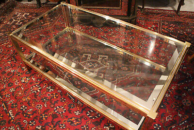 Large Table Low Rectangular Design Metal Gold on 2 Levels Trays Glass