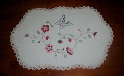Large Vintage Hand Embroidered Table Centre Piece/doily~Butterfly/flowers~Linen
