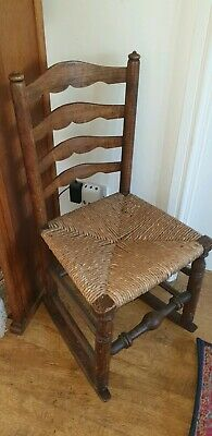 Antique ARTS & CRAFTS Ladder back Woven Straw Rocking Chair VGC
