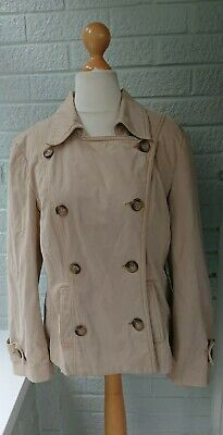 M&S Per Una Size 16 Cream Beige Cotton Double Breasted Short Mac Coat Jacket
