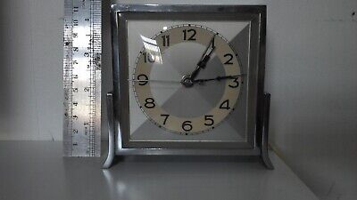 art deco chrome clock mains electric stamped DRPG gwo