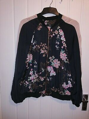 Ladies F & F Black With Floral Print Bomber Jacket size 16